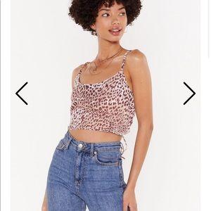 Leopard backless crop